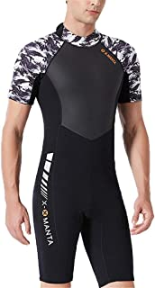 WoCoo Men 1.5mm Neoprene Wetsuits,Back Zip Shorty Surfing Suit,Surfing, Snorkeling, Scuba Diving,Underwater Sports