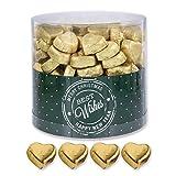Günthart 150 Stück gold Schokoladen Herzen mit Nougatfüllung | Nougatcreme Kaffeehaus | Schokoladenherzen gold Best Wishes | Give away | goldene Herzen aus Schokolade | Best Wishes (1,2...