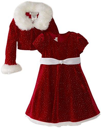 Bonnie Jean - Girls Christmas Dress Velvet Sparkle Dress with Jacket (12) Red