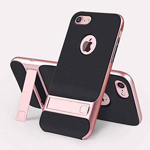 iPhone 8 hoes, JIEAO Ultra Slim hoes case [stootvast anti-kras] siliconen beschermhoes cover met kickstand voor Apple iPhone 8 (4,7 inch) iPhone 8 roségoud