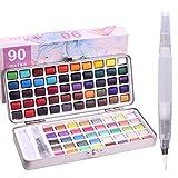 Kit de peinture aquarelle - 90 couleurs assorties avec 1 pinceaux de peinture, parfait pour les débutants, les amateurs en herbe et les artistes