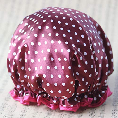 Ltong Lovely Thick Women Shower Caps Colorful Double Layer Bath Shower Hair Cover Adults Waterproof,Style 12