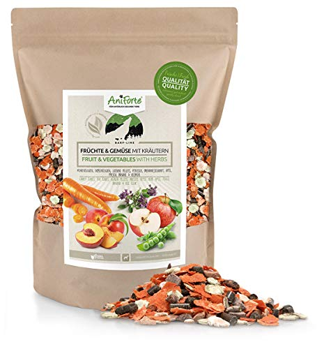 AniForte Barf Dog Food Mix, Fruit & Vegetables with herbs 1 kg for Dogs, Natural Raw Diet Food Supplement, Gluten and Grain Free without Artificial Additives