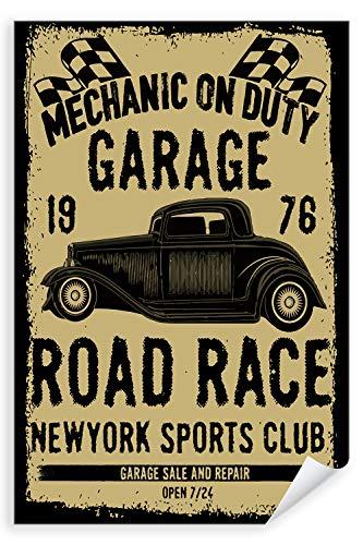 Postereck - Poster 2047 - Vintage Plakat, Auto Schild Retro alt Werkstatt Wagen Größe 3:2-61.0 cm x 40.5 cm