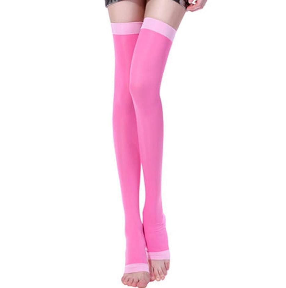 る湾錆び最新モデル 楽やせ第2世代 美脚ソックス 寝ながらレッグスリマー ロングサイズ (ピンク L)