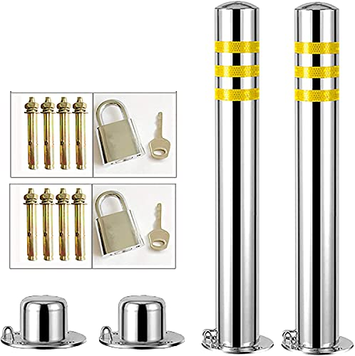 BAICHUN 2pcs Stainless Steel Security Posts for Driveways, Parking Barrier Reflective Tape Parking Post Bollards, Prevent Rust, Easy Installation(Size:76×600mm)