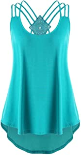 Wintialy Women Bandages Sleeveless Vest Top High Low Tank Top Notes Strappy Tank Tops