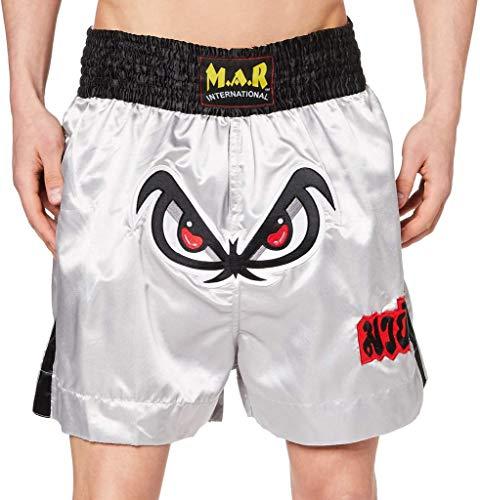 M.A.R International Ltd. Shorts für Kickboxen & Thaiboxen, Kickboxen, MMA-Hose, Boxbekleidung, Muay Thai, K1 Ausrüstung, Polyester-Satin-Stoff, Grau, Größe XL