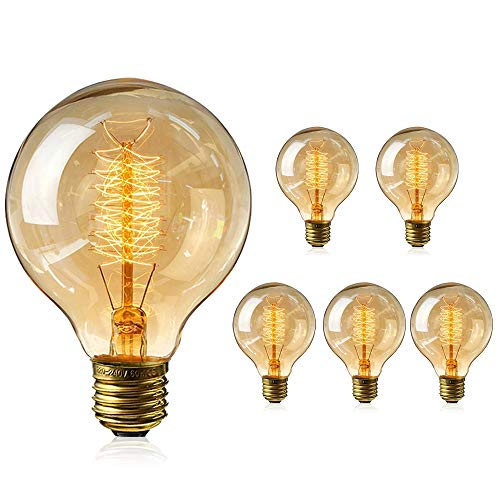 IVEOPPE [6-Pezzi] Lampadine Edison vintage E27 40W, Dimmerabile Lampada G80 Retro Filamento lightbulbs 220v-240v Decorativa Globo Bianco Caldo