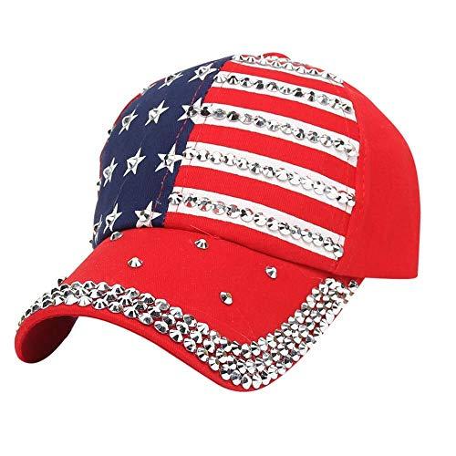 Casquillo salvaje ocasional del sombrero del sol de Sun Gorra de béisbol del hip-hop Gorra ajustable 2019 Bandera de moda Diamante con tachas hombres y mujeres Gorra de béisbol del dril de algodón Som (Ropa)