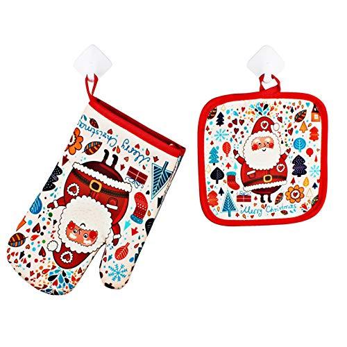 Rehomy Juego de 2 manoplas de Navidad con aislamiento térmico para horno microondas y soporte para ollas Accesorios de cocina