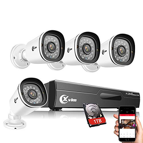 XVIM 1080P Home Security Camera System with 1TB Hard Drive Outdoor IP66 Waterproof CCTV Recorder 8pcs HD 1920TVL Upgrade Home Surveillance Cameras with Night Vision, Easy Remote Access