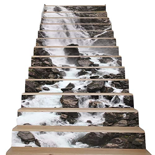 Waterfall Landscape Staircase Stickers, Removable Waterproof Staircase Murals, 3D Creative Stairs Sticker, 39.4Inch X7.08Inch, 13PCS/Set (B)