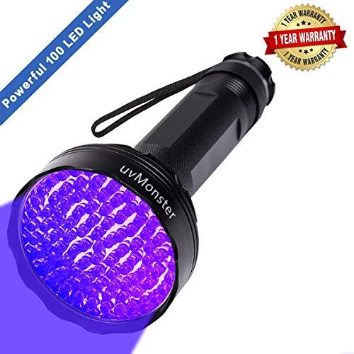 UV Blacklight Flashlight, Super Bright 100 LED 395nm Pet Dog Cat Urine Detector light Flashlight for...