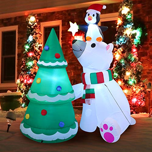Christmas Inflatable Decoration 6 ft Polar Bear Christmas Tree Inflatable with Build-in LEDs Blow Up Inflatables for Christmas Party Indoor, Outdoor, Yard, Garden, Lawn, Winter Decor, Holiday Season