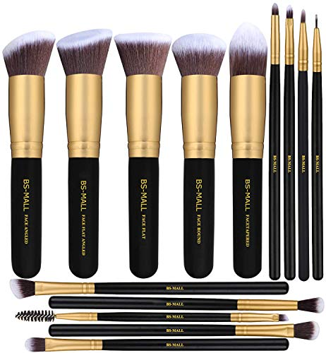 BS-MALL Makeup Brushes Premium Synthetic Foundation Powder Concealers Eye Shadows Makeup 14 Pcs Brush Set, Rose Golden, 1 Count