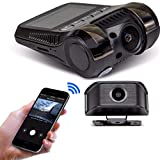Yakola Y9 WiFi DashCam, Dual Mini Car Camera, Full HD 216P Front Camera with 1080P ear View Camera, Time-lapse video , Infrared Night Vision, Parking Monitor, G-Sensor, Loop Recording