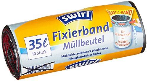 20 Liter Anthrazit Swirl Fixierband-M/üllbeutel 4 Rollen mit je 15 Beuteln