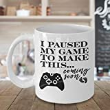 I Paused My Game Baby Announcement s Funny Pregnancy Baby Reveal to Husband Boyfriend or Fianc We Are Pregnant Coffee Mug