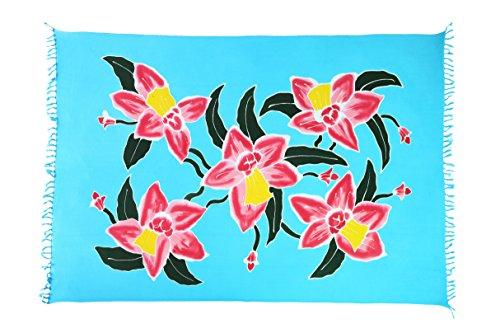 2 er Set Original Yoga Sarong Pareo Wickelrock Strandtuch Rund ca 170cm x 1110cm Handtuch Schal Kleid Wickeltuch Wickelkleid Blume Ibiza Style Türkis