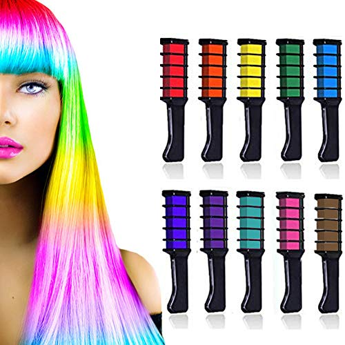 Jakuva 10 colors Temporary Hair Chalk Comb, Washable Hair Color Comb Dye for Men and Women Hair Dyeing Cosplay Parties