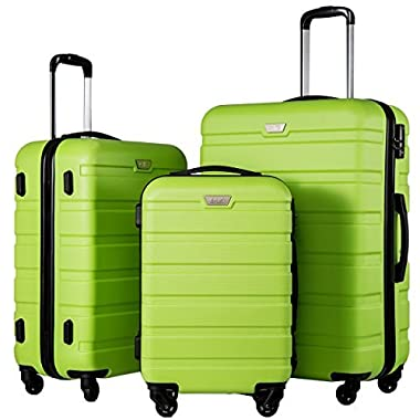 Coolife Luggage 3 Piece Set Suitcase Spinner Hardshell Lightweight (apple green2)