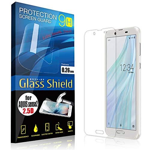 AnglersLife 液晶保護フィルム AQUOS sense2 SH-01L/SHV43 2.5D 9H ガラスシールド(全透明) ガラスフィルム 強化ガラス アクオス センス ツー