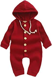Weixinbuy Baby Boys Girls Sleepwear Pyjama Solid Color Long Sleeve Hooded Romper Bodysuits Clothes for Toddler Newborn Baby