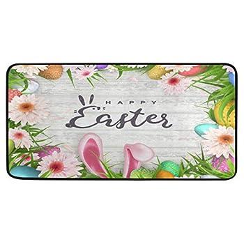 CiCily Doormat Area Rug Happy Easter Background Egg Hunt Rabbit for Bedroom Front Door Kitchen Indoors Home Decors