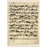 BiblioArt Series J. S. バッハ自筆譜『無伴奏ヴァイオリンのためのソナタ第1番冒頭部分(バッハのサイン入り)』ーA4版サイズ額絵