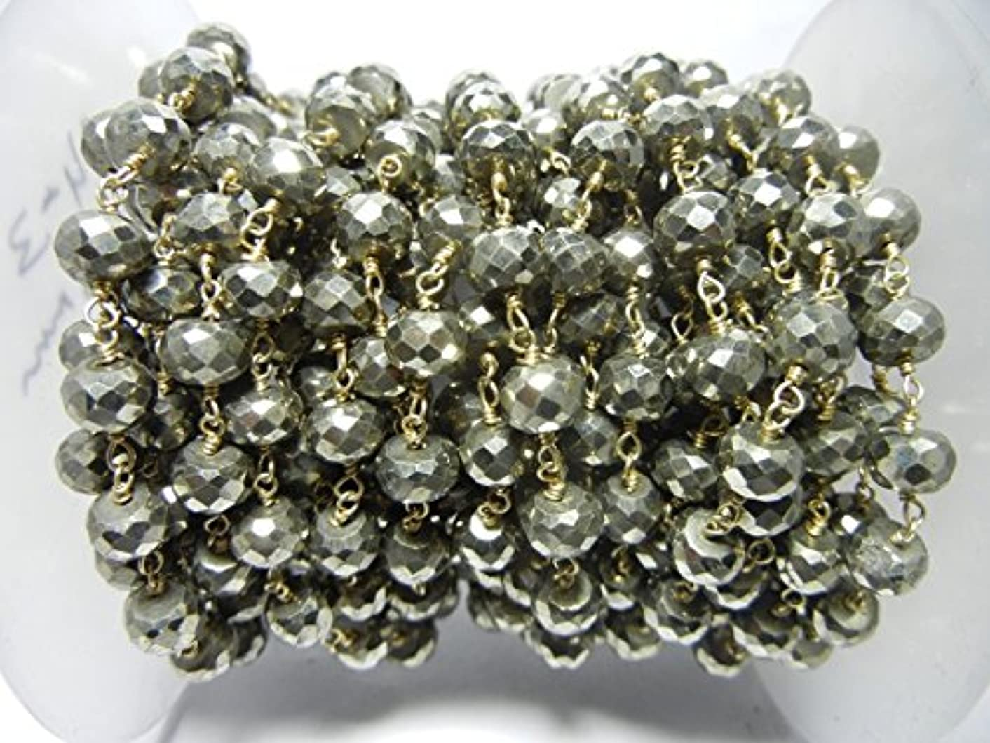 3 feet Natural Pyrite Bead 6mm 24k Gold Plated Rosary Style Chain by bestinbeads, Natural semi Precious Gemstone Beaded Chain by The Foot, Jewelry Making Chain