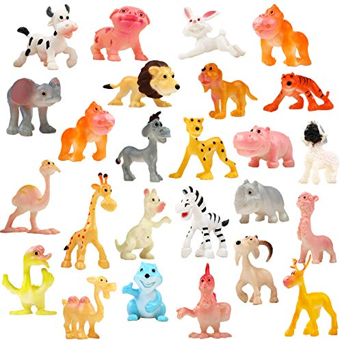 Funcorn Toys Cartoon Animal, 24 Pack Mini Plastic Wild Animals Models Toys Kit, Jungle Animal Figures Set for Children Boys & Girls Kids Party Favors Classrooms Rewards Birthday Gift Educational Toy