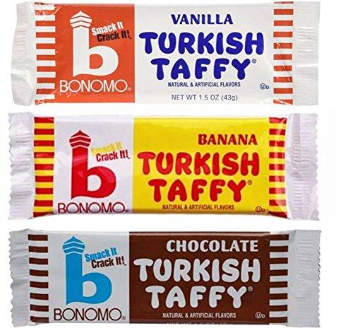 Bonomo Turkish Taffy Candy 3 Flavor 9 Bar Variety Bundle: (3) Bonomo Vanilla Turkish Taffy, (3) Bonomo Chocolate Turkish Taffy, and (3) Bonomo Banana Turkish Taffy, 1.5 Oz. Ea. (9 Bars Total)