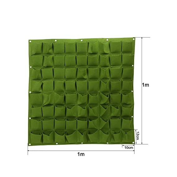 72 Pocket Vertical Wall Garden Planter,Wall Hanging Planting Bags for Garden Indoor Outdoor (16 Pockets) 4 ❤The felt material, meet environmental standards, non-toxic biodegradable, anti ultraviolet, anti-corrosion, sunscreen, heat. ❤Hanging on the walls, save space, planting strawberries, vegetables, foliage plants. ❤Reusable, portable, economical and practical.