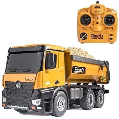 Zeyujie Gran control remoto aleación volquete camión coche eléctrico control remoto coche rc modelo de juguete para niños, 1:14 Relación Control remoto de camión volquete de juguete, adecuado para adu