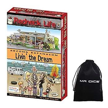 Redneck Life Second Expansion  Livin  the Dream Board Game Bundle with Mr Dice Drawstring Bag