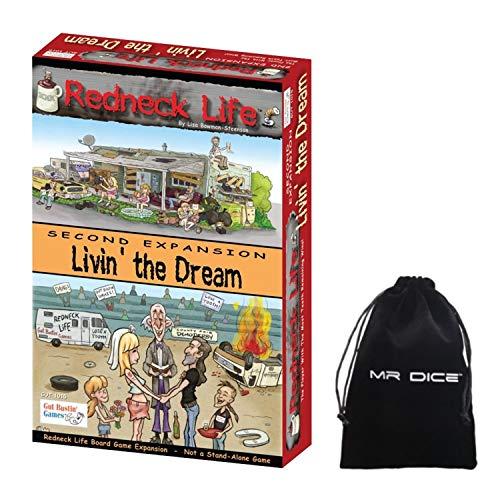 Redneck Life Second Expansion: Livin' the Dream Board Game Bundle with Mr Dice Drawstring Bag