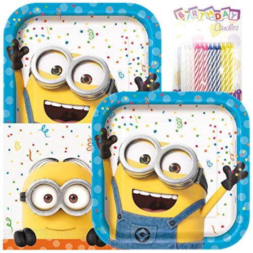 Minion Teller und Servietten für 16 Personen mit Geburtstagskerzen