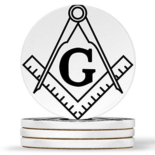 AK Wall Art Masonic Compass Design - Round Coasters, Natural Sandstone - Set of 4