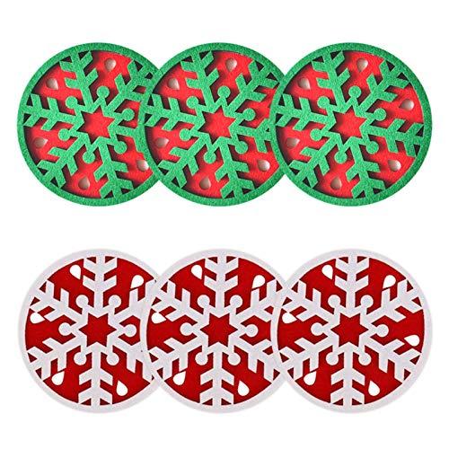 Saicowordist - Set di 6 sottobicchieri natalizi in feltro con fiocco di neve, colore: verde e bianco