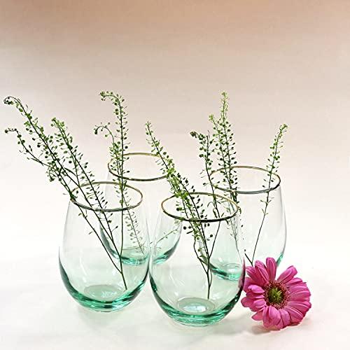 G Decor Juego de 4 vasos de vidrio Cosmos Green Ombre con borde dorado