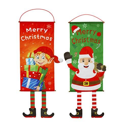 DOITOOL Frohe Weihnachten Tür Hängende Flagge Elfe Weihnachtsmann Gartenflagge Verandaschild für Innen Außen Weihnachtsdekoration Ornamente Türbanner 2 Stück