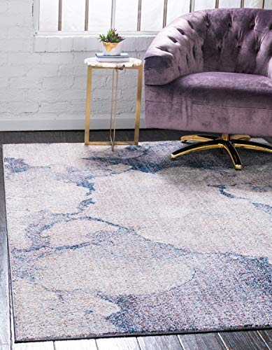 Unique Loom Rainbow Collection Modern Abstract Watercolor Blue Gray Area Rug (5' x 8')
