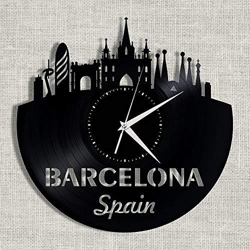 LJJYF Reloj de Pared Negro Redondo de 12 Pulgadas con Disco de Vinilo de Barcelona @B,Reloj de Pared Silencioso