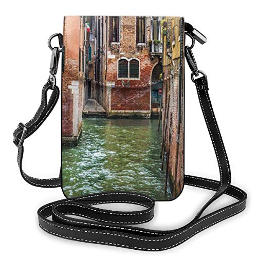 Women Mini Purse Crossbody of Cell Phone,Italian City On Water Historical Landmark Famous Streets Houses Gondolas Europe