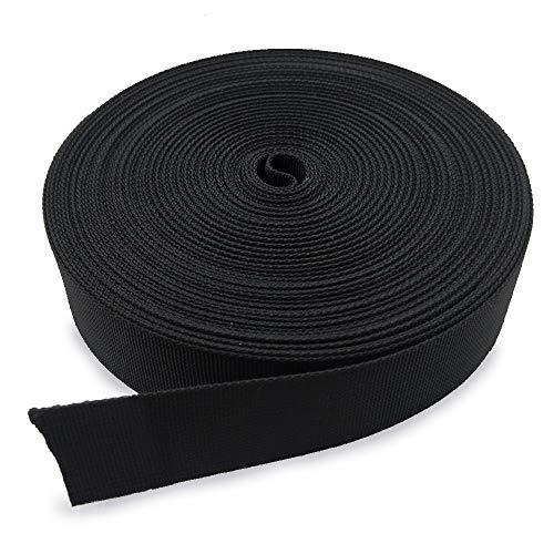 REKYO Cincha Pesado De 1 Pulgada Ancho 10 Yardas Nylon Negro Y 12 PC Lado Plano Versión Hebillas Nylon Correas Cinta para Mochila De Bricolaje para Embalaje (Producto Nuevo) … (Banda 18)