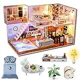 Fsolis Casa de Muñecas en Miniatura de Bricolaje con Mueble, Casa en Miniatura de Madera 3D con Cubierta Antipolvo y Movimiento Musical, Kit de Regalo Creativo de Casas para Muñecas-Met You