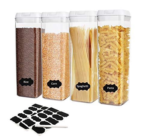Hansiro Vorratsdosen Set 4-teilig   Schüttdosen Aufbewahrungsdosen Frischhaltedosen   luftdicht und stapelbar für Lebensmittel   LFGB Zertifiziert