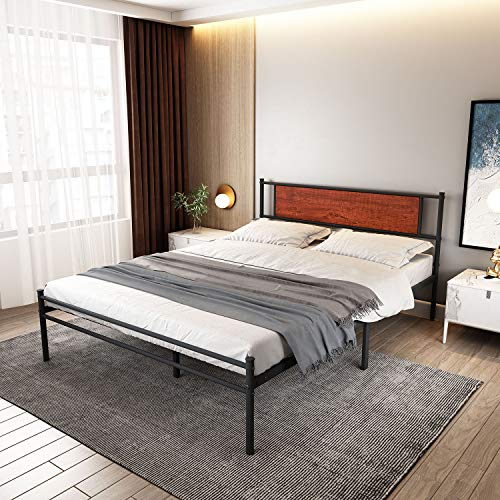 Ama Maker 12.6inch Bed Frame Queen Size with Headboard and Footboard Modern Platform Bed Frame Steel Slat Support Heavy Duty Steel Slat Support Easy Assembly