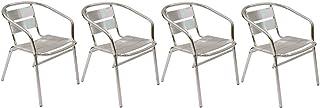 SF SAVINO FILIPPO 4 sillas de bar de aluminio antioxidante, apilables, para exterior, interior, Catering, restaurante, establecimiento de baño